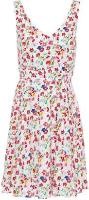 Claudie Pierlot Bow-embellished Cutout Floral-print Crepe Mini Dress