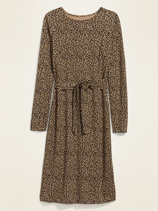 Old Navy Jersey-Knit Tie-Waist Midi Sheath Dress for Women