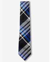 Express plaid narrow silk tie