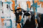 Parvez Taj Orange Teal Steer Canvas Wall Art