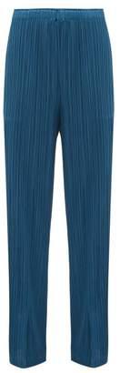 Pleats Please Issey Miyake Slit-hem Technical-pleated Trousers - Womens - Blue