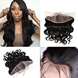 """Body Wave 13x4"""" Full Lace Frontal Closure Ear To Ear Unprocessed Brazilian Virgin Hair Silky Human Hair Extensions Top Lace Front Closures With Baby Hair Bleached Knots Natural Color Middle Part 12"""""""