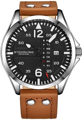 Stuhrling Original Men's Aviator Tan Leather Watch