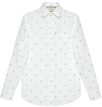 Gucci Oxford shirt with symbols fil coupe