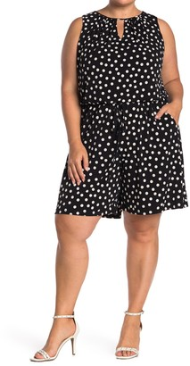 London Times Polka Dot Crepe Keyhole Romper (Plus Size)