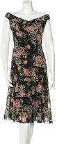 Anna Sui Silk Off-The-Shoulder Dress