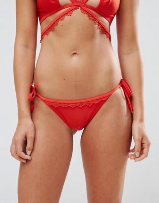 Playful Promises Crochet Trim Cut Out Tie-Side Bikini Bottoms-Red