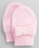 Neiman Marcus Cashmere Bow Mittens, Chiffon Pink, 6-24 Months