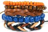 Tag Twenty Two 5 Pack Multi Colored Leather and Beaded Bracelet Set / Fashion Bracelet 414
