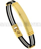 Sabrina Silver Stainless Steel Cable Bracelet for Women ID Plaque Black & Gold 2-tone, 7 inch