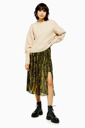 Topshop Womens Idol Ochre Warped Print Pleat Midi Skirt - Ochre
