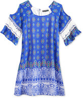 Sequin Hearts Cold-Shoulder Geo-Print Shift Dress, Big Girls (7-16)