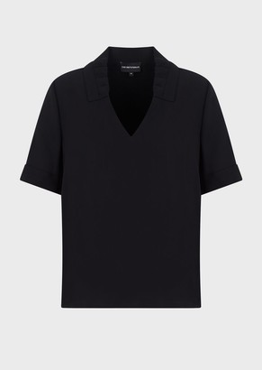 Emporio Armani V Neck Blouse With Light Cady Ruches