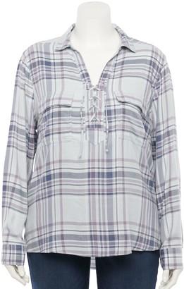 So Juniors' Lace Up Shirt