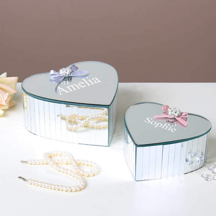 Dibor Personalised Mirrored Heart Trinket Box Collection