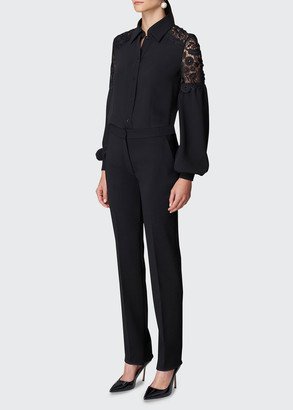 Carolina Herrera Lace-Insert Button-Down Shirt