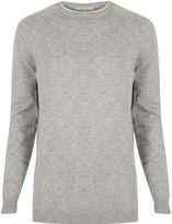 River Island MensLight grey crew neck sweater