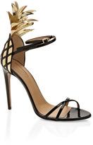Aquazzura Gold And Black Pina Colada Sandal