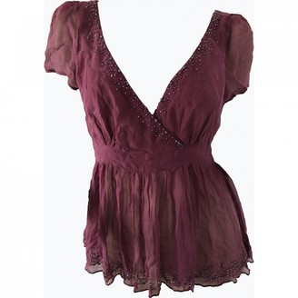 Antik Batik Burgundy Silk Top for Women