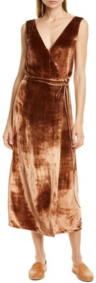 Vince Pann Velvet Wrap Midi Dress
