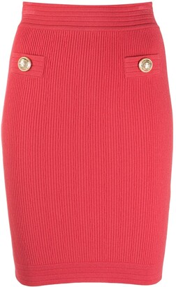 Balmain Stretch Rib Knit Pencil Skirt