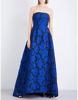 Oscar de la Renta Strapless lace-embroidered cloqué gown