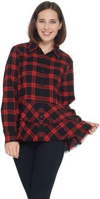 Joan Rivers Classics Collection Joan Rivers Plaid Peplum Shirt with Fringe Hem