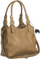 Big Handbag Shop BHSL Womens Medium Size Plain Shoulder Bag with a Long Strap With a Branded Protective Storage Bag and Charm (Khaki 105)
