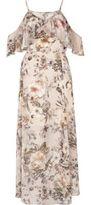 River Island Womens Cream floral print cold shoulder maxi dress