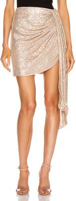 Jonathan Simkhai Sequin Mini Drape Front Skirt in Champagne | FWRD