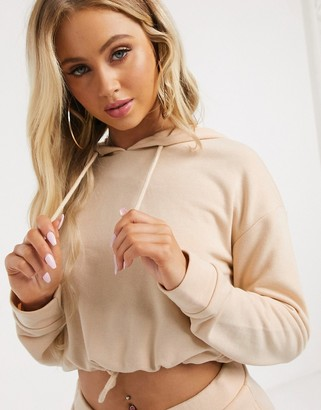 South Beach cropped hoodie in beige