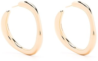 Salvatore Ferragamo Large Irregular Curve Hoop Earrings