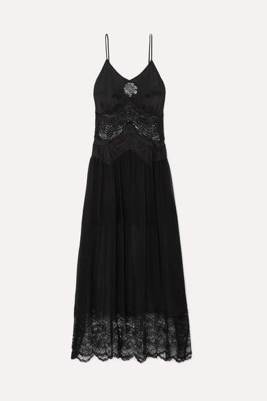 Paco Rabanne Lace-trimmed Satin And Chiffon Midi Dress - Black