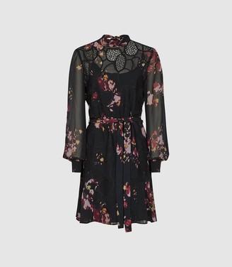 Reiss Rakel - Floral Lace Mini Dress in Black
