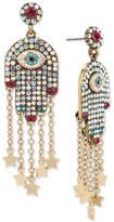 Betsey Johnson Gold-Tone Pavandeacute; Hamsa Hand Drop Earrings