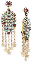 Betsey Johnson Gold-Tone Pavé Hamsa Hand Drop Earrings
