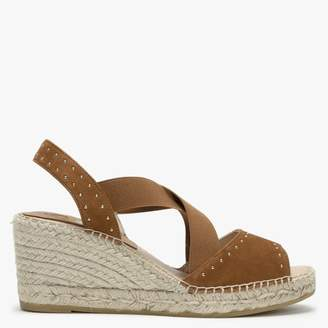 Kanna Tan Suede Elasticated Cross Strap Studded Wedge Espadrilles