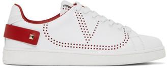 Valentino White and Red Garavani VLogo Backnet Sneakers