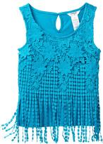 Bebe Crochet Lace Fringe Top (Big Girls)