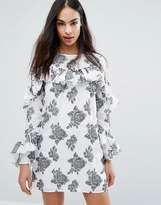Missguided Rose Print Ruffle Detail Dress