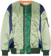 Facetasm panelled collarless bomber jacket