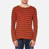 Nudie Jeans Men's Orvar Striped Long Sleeve TShirt - Stripe Blood Orange