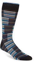 Bugatchi Mercerized Blocked Stripe Mid-Calf Socks
