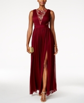 Adrianna Papell Petite Lace-Inset Pleated Gown