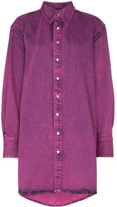 Faded Effect Shirt Mini Dress