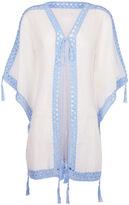 Anna Kosturova White & Blue Sheika Crochet Kimono