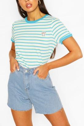 boohoo Pocket Print Stripe Ringer T-shirt