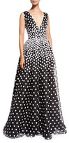 Oscar de la Renta Sleeveless V-Neck Gown w/Floral-Embroidered Overlay, Black/White