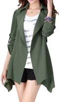 Anself Women's Asymmetric Drape Lapel Open Front Trench Coat Cardigan