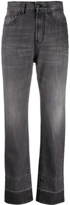 Palm Angels Straight Leg 5 Pockets Dark Grey White